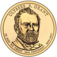 США. 1 доллар. Президенты. №18. 2011. Ulysses S. Grant / Улисс Грант. D. UNC