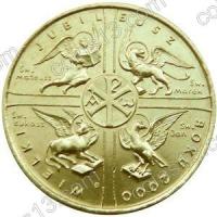 Польша. 2000. 2 злотых. #032. Великий Юбилей 2000 года [даты]