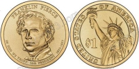 США. 1 доллар. Президенты. №14. 2010. Franklin Pierce / Франклин Пирс. P. UNC