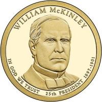 США. 1 доллар. Президенты. №25. 2013. William McKinley / Уильям Мак-Кинли. D. UNC
