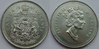 Канада. 50 центов. 1991. UNC