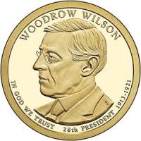 США. 1 доллар. Президенты. №28. 2013. Thomas Woodrow Wilson / Томас Вудро Вильсон. P. UNC