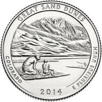 США. 25 центов(квотер). Парки. №24. 2014. Great Sand Dunes National Park. P. UNC
