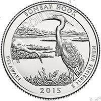 США. 25 центов(квотер). Парки. №29. 2015. Bombay Hook National Wildlife Refuge, Delaware. P. UNC