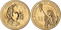 США. 1 доллар. Президенты. №04. 2007. James Madison / Джеймс Мэдисон. D. UNC
