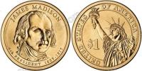 США. 1 доллар. Президенты. №04. 2007. James Madison / Джеймс Мэдисон. P. UNC