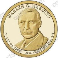 США. 1 доллар. Президенты. №29. 2014. Warren Harding / Уоррен Гардинг. D. UNC