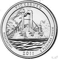 США. 25 центов(квотер). Парки. №09. 2011. Vicksburg National Military Park. D. UNC