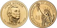 США. 1 доллар. Президенты. №05. 2008. James Monroe / Джеймс Монро. P. UNC