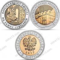 Польша. 5 злотых. 2017. Полный годовой набор. 2 монеты. Биметалл. UNC