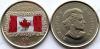Канада. 25 центов. 2015. 50 летие флага Канады. Цветная. UNC