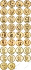 США. 1 доллар. Президенты. Полный набор. 39 монет. UNC из роллов. P