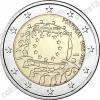 Португалия. 2015. 2 евро. 30 лет флагу Европейского союза. Биметалл. Из ролла. UNC
