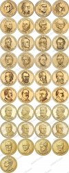 США. 1 доллар. Президенты. Полный набор. 39 монет. UNC из роллов. D