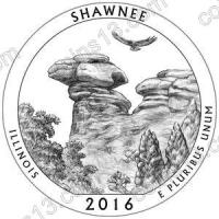 США. 25 центов(квотер). Парки. №31. 2016. Shawnee National Forest, Illinois. D. UNC