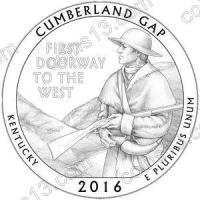 США. 25 центов(квотер). Парки. №32. 2016. Cumberland Gap National Historical Park, Kentucky. S. UNC