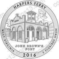 США. 25 центов(квотер). Парки. №33. 2016. Harpers Ferry National Historical Park, West Virginia. S. UNC