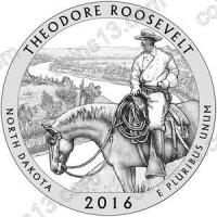 США. 25 центов(квотер). Парки. №34. 2016. Theodore Roosevelt National Park, North Dakota. D. UNC