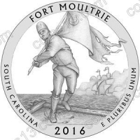 США. 25 центов(квотер). Парки. №35. 2016. Fort Moultrie (Fort Sumter National Monument), South Carolina. S. UNC