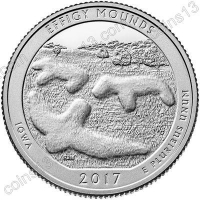 США. 25 центов(квотер). Парки. №36. 2017. Effigy Mounds National Monument, Iowa. S. UNC