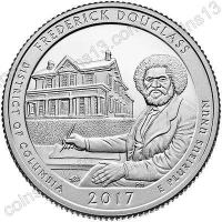 США. 25 центов(квотер). Парки. №37. 2017. Frederick Douglass National Historic Site, District of Columbia. S. UNC