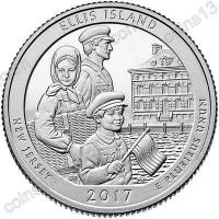 США. 25 центов(квотер). Парки. №39. 2017. Ellis Island (Statue of Liberty National Monument), New Jersey. D. UNC