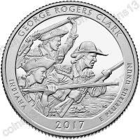 США. 25 центов(квотер). Парки. №40. 2017. George Rogers Clark National Historical Park, Indiana. D. UNC
