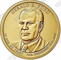 США. 1 доллар. Президенты. №38. 2016. Gerald Ford / Джеральд Форд. D. UNC