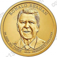 США. 1 доллар. Президенты. №40. 2016. Ronald Reagan / Рональд Рейган. P. UNC