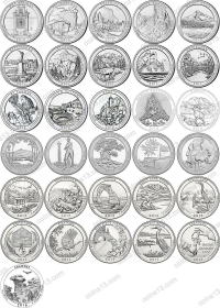 США. 25 центов(квотеры). Парки. Набор. 27 монеты. UNC из роллов.  Разные мон. дворы