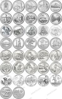 США. 25 центов(квотеры). Парки. Набор. 37 монеты. UNC из роллов D
