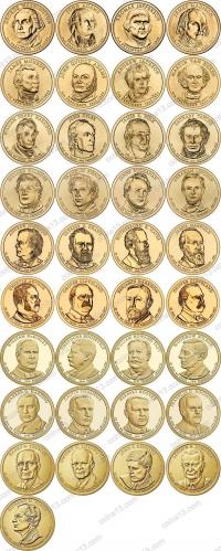 США. 1 доллар. Президенты. Полный набор. 39 монет. UNC из роллов. Разные дворы